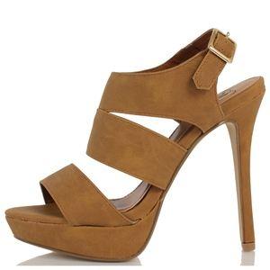 Shoes - Pinion Tan Open Toe Cutout High Heel Sandal